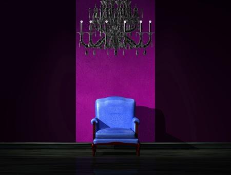 Alone blue chair with luxury chandelier in dark interior Stock Photo