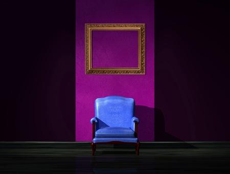 Alone blue chair with empty frame in dark interior