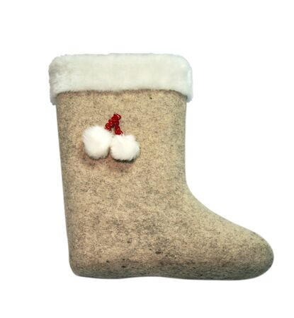 valenki: Childs valenki - russian felt footwear, isolated over white background