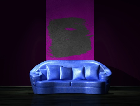 venge: Blue sofa with graffiti frame on the wall in minimalist interior