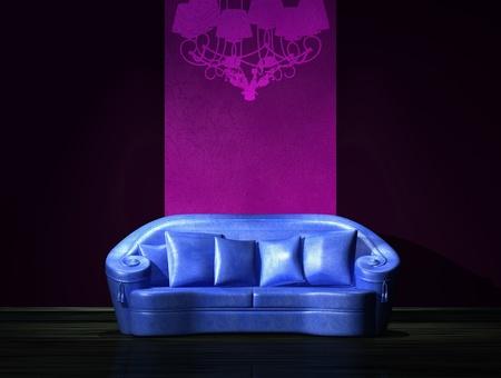 Blue sofa with graffiti on the wall in minimalist interior  Stock Photo