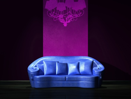 venge: Blue sofa with graffiti on the wall in minimalist interior  Stock Photo