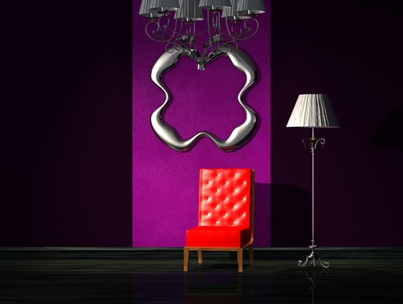 Red chair with chandelier, stand lamp and metalic frame in interior