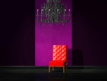 Red chair with luxury chandelier in dark interior