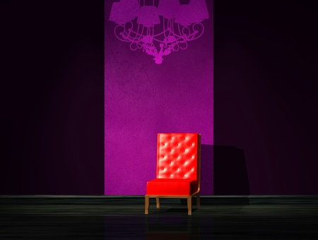 venge: Red chair with graffiti on the wall in minimalist interior