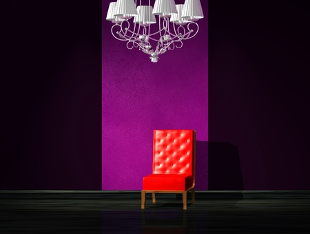 venge: Red chair with luxury chandelier in minimalist interior Stock Photo