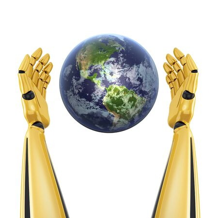 Robot hands around planet earth isolated on white background  photo