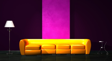 Orange sofa with table and stand lamp in minimalist interior