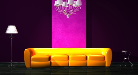 venge: Orange sofa with table, luxury chandelier and stand lamp in minimalist interior