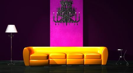 Orange sofa with table, luxury chandelier and stand lamp in minimalist interior