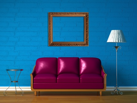 Purple couch, table  and standard lamp with picture frame in  blue minimalist interior photo