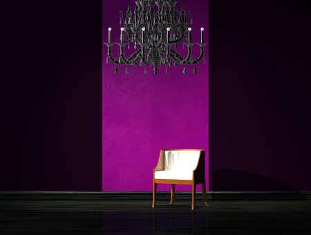 venge: Red chair with luxury chandelier in dark interior