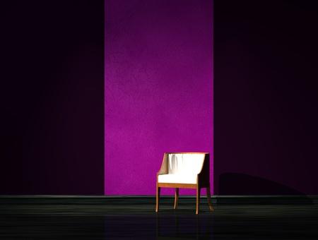 Alone chair in dark interior