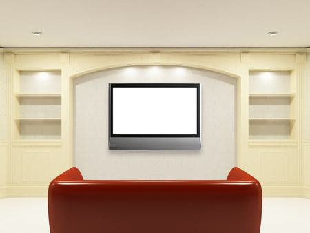 Red sofa with LCD tv on the wall for yours information photo