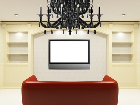 Red sofa with illuminated LCD tv on the wall Stock Photo - 12420790