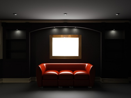 Red leather divan and bookcase with empty frame on the wall in dark room photo