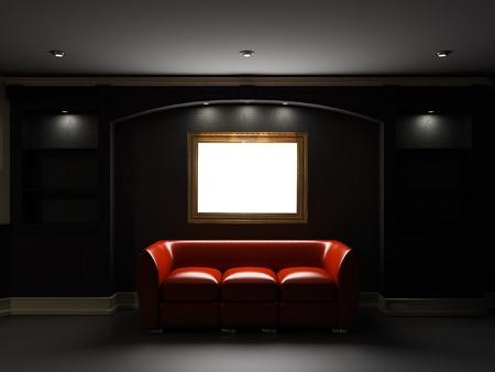 divan: Sof� de cuero rojo y librer�a con el marco vac�o en la pared en una habitaci�n oscura Foto de archivo