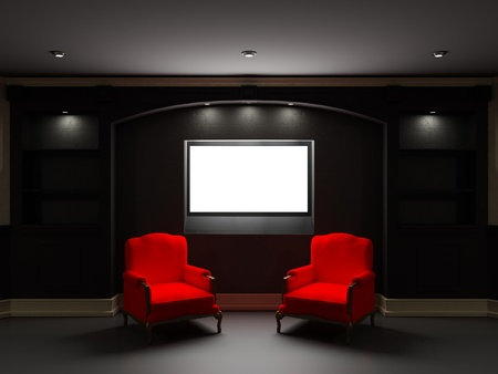 Two red chairs with LCD tv in dark living room