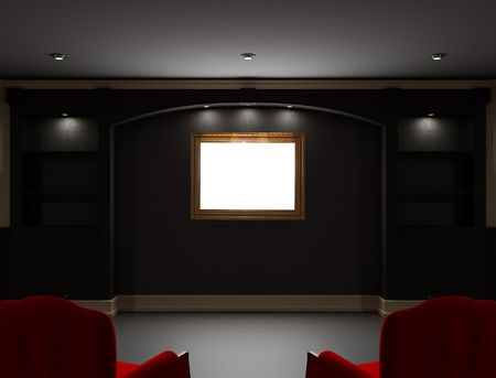 ebony wood: Two red chairs with empty frame  in  living room