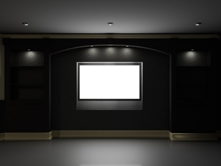 Empty bookcase with illuminated LCD TV on the wall photo