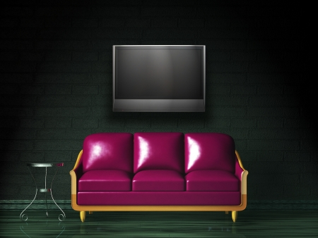 Purple sofa with table and LCD tv in the dark interior photo