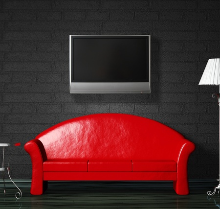 Red sofa, table  and standard lamp with LCD tv  in  black minimalist interior photo