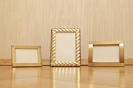 photo frames on wooden floor photo