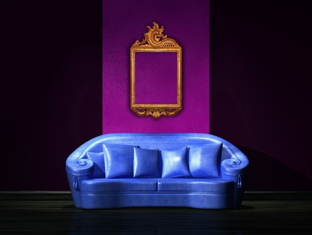Blue sofa with antique frame on the wall in minimalist interior