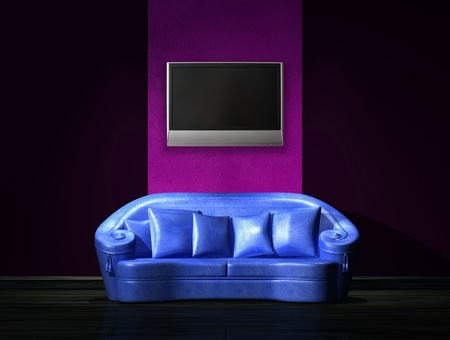 venge: Blue sofa with LCD tv on the wall in minimalist interior