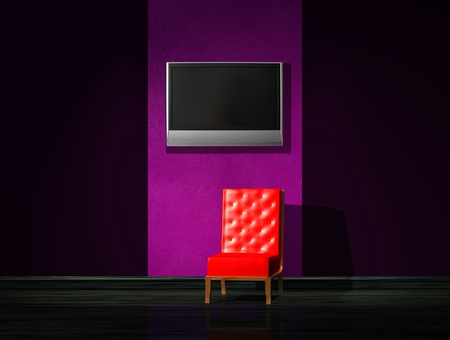Red chair with LCD tv