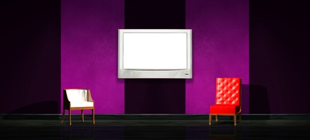 Red and white chair with LCD panel in minimalist interior Stock Photo