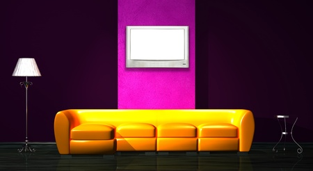Orange sofa, table and stand lamp with LCD tv in minimalist interior