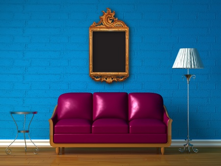 Purple couch, table  and standard lamp with elegant picture frame  in  blue minimalist interior photo