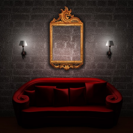 Red couch with empty frame and sconces in minimalist interior photo