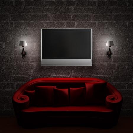 wall sconce: Sof� rojo con TV LCD y apliques en el interior minimalista