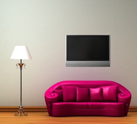 Pink couch with standard lamp with LCD tv on the wall in minimalist interior photo