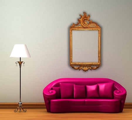 Pink couch with standard lamp and antique frame in minimalist interior photo