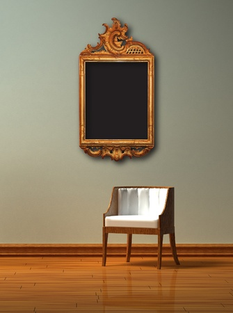 Alone chair with elegance antique frame in minimalist interior Stock Photo