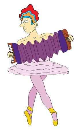 sneer: Cute male ballet dancer with accordeon Stock Photo