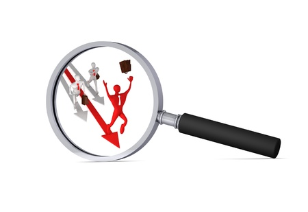 defeated: 3d man on the red arrow and his defeated competitors in the magnifier 3d icon