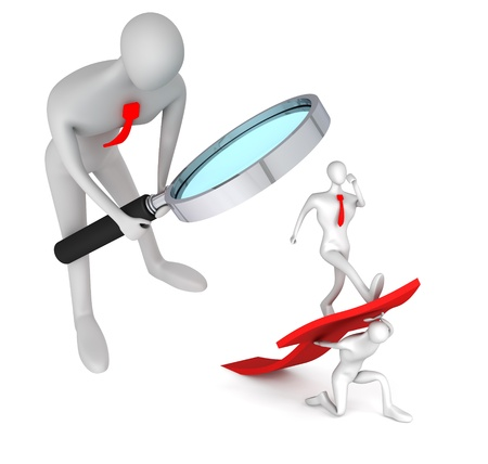 initiatives: 3d person watching on 3d man turning the arrow on the upside and man who going up