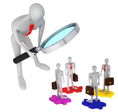 oversee: 3d person watching how 3d persons with briefcases standing on the puzzles  3d icon of the teamwork Stock Photo