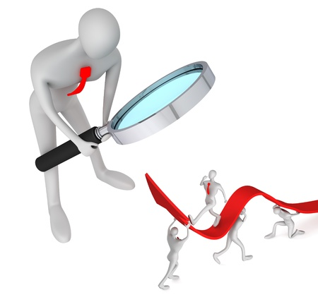 3d person watching how 3d persons turning the arrow on the upside and man who going up Stock Photo - 12876335
