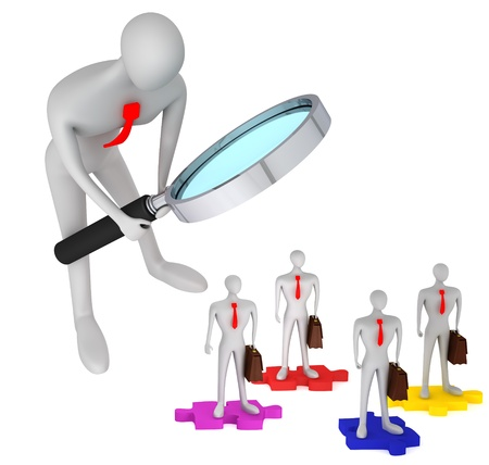 3d person watching how 3d persons with briefcases standing on the puzzles / 3d icon of the teamwork Stock Photo - 12876296