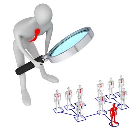 hi�rarchie: 3d persoon kijken op 3D man in de structuur van corporate relatie