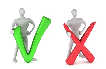 POSITIVE NEGATIVE: 3d person with a green tick and 3d person with red negative symbol
