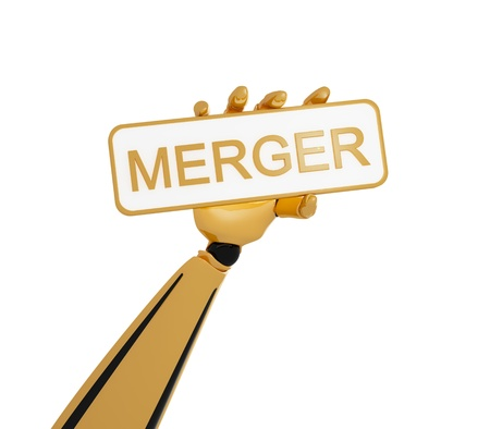 merger: 3d robotic hand hold a plate with word merger Stock Photo