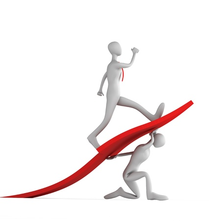 initiatives: 3d man turning the arrow on the upside and man who going up