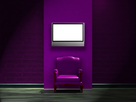furnishings: Alone purple chair with LCD tv on the wall in minimalist interior