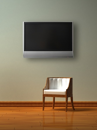 Alone chair with LCD tv  in minimalist interior photo